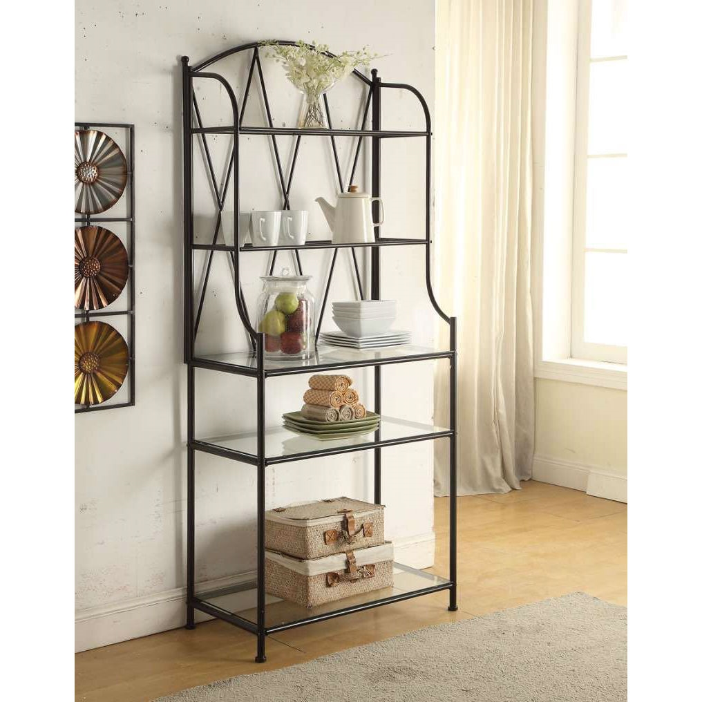 Elegant Black Metal Bakers Rack Kitchen Storage Unit with Glass ...