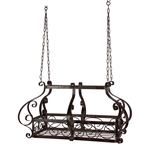 Brow Scrolling Metal Traditional Ceiling Hanging Pot Rack with 12 Hooks