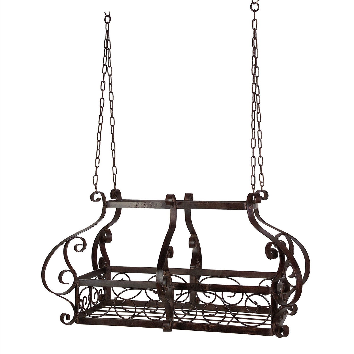 Brow Scrolling Metal Traditional Ceiling Hanging Pot Rack With 12 Hooks Fastfurnishings