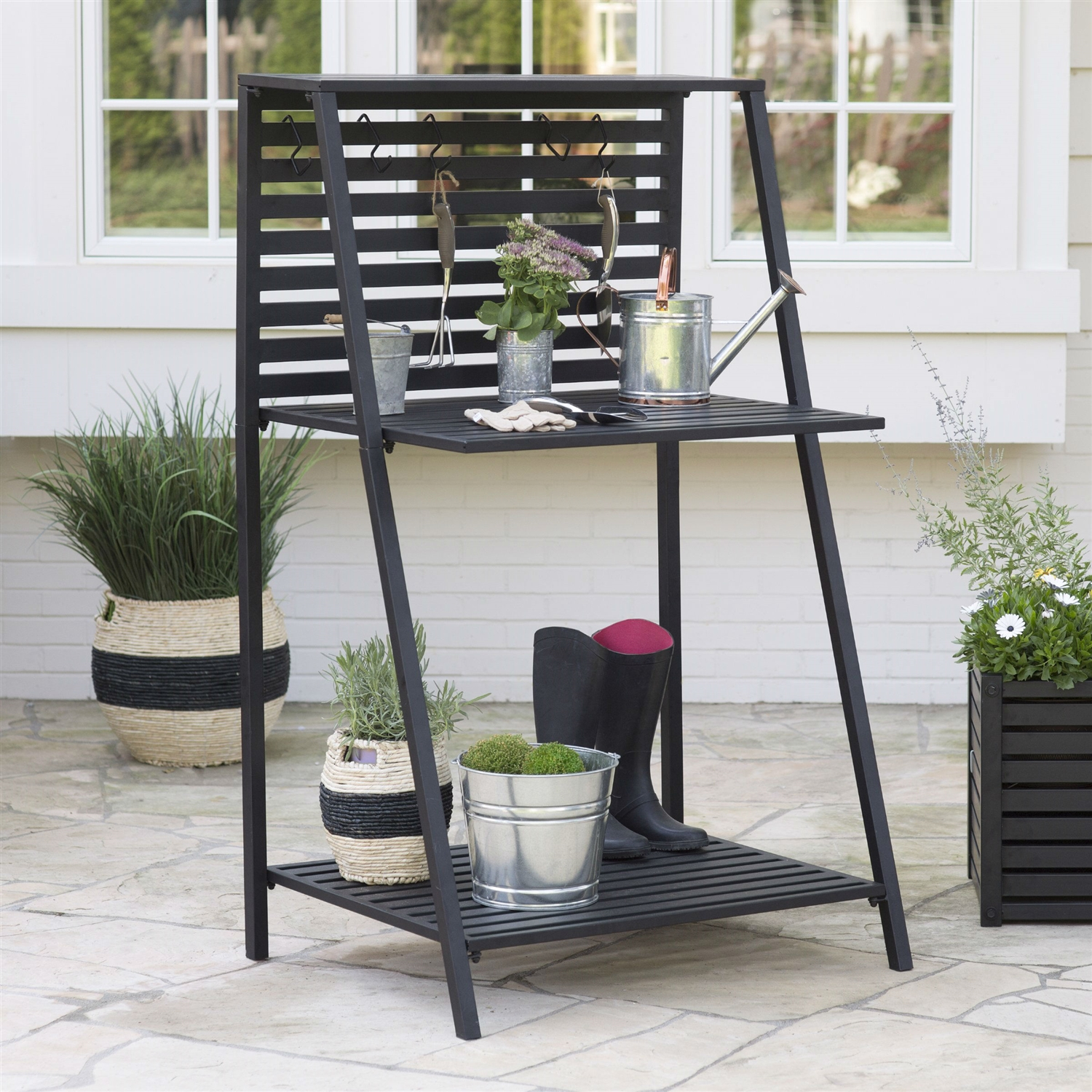 Modern Potting Bench Garden Table Outdoor Bakers Rack Shelving Unit Fastfurnishings