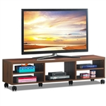 Modern 60-inch Entertainment Center TV Stand in Brown Wood Finish with 6-Wheels
