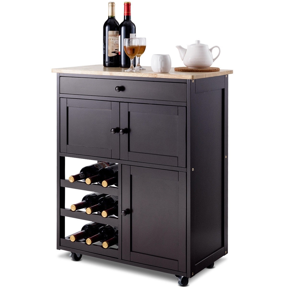 Brown Wood Mobile Kitchen Island Cart