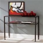 黑色金属控制台沙发桌,带玻璃顶和架子