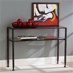 黑色金属框架沙发桌,带透明钢化玻璃顶架