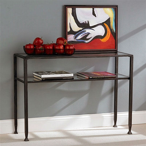 Black Metal Frame Sofa Table With Clear Tempered Glass Top