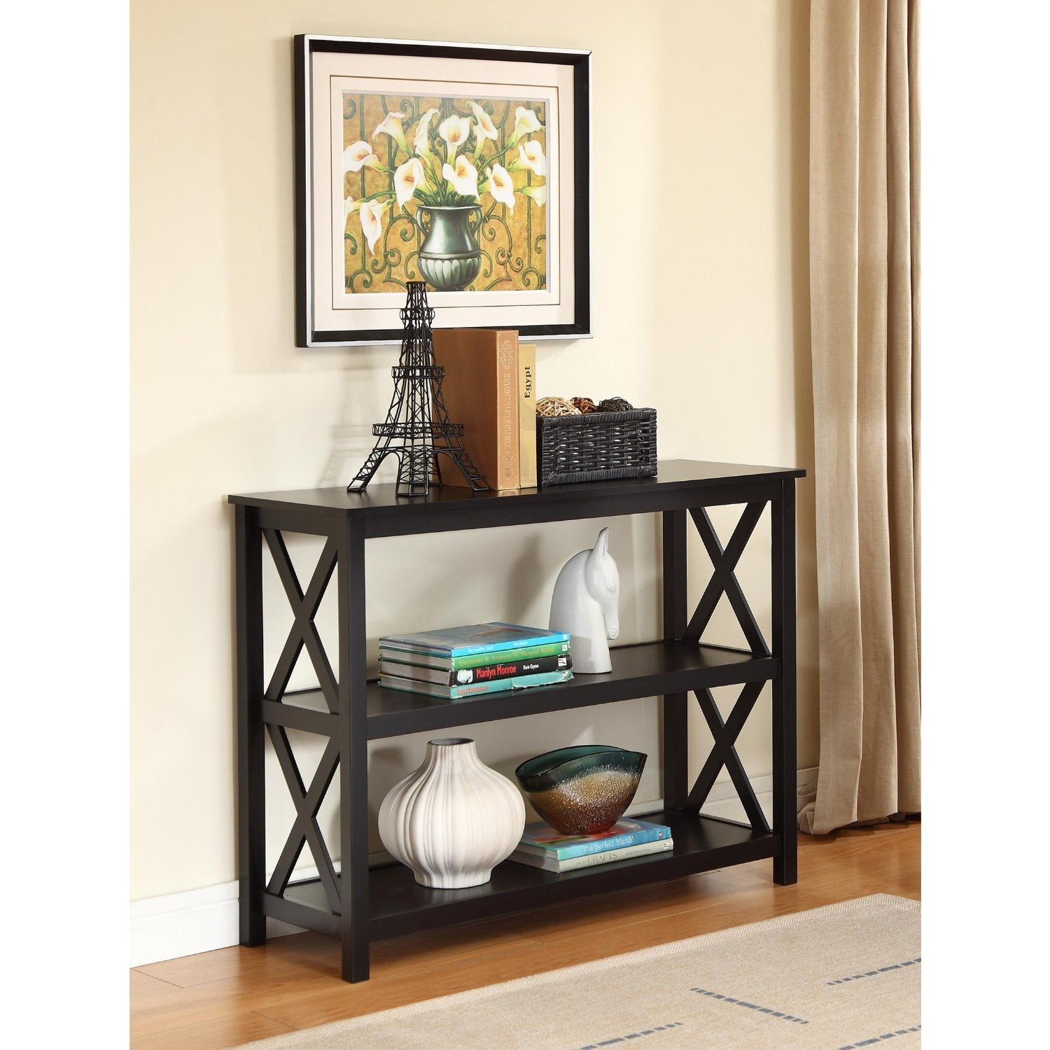 3-Tier Black Sofa Table Bookcase Living Room Shelves ...