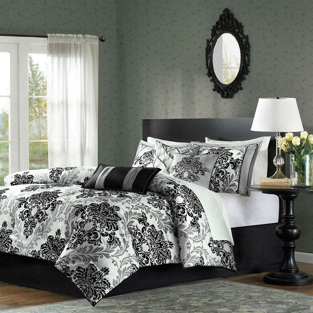 Queen size 7Piece Damask Comforter Set in Black White Grey