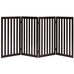 Folding 4-Panel Dog Gate Pet Fence in Brown Wood Finish