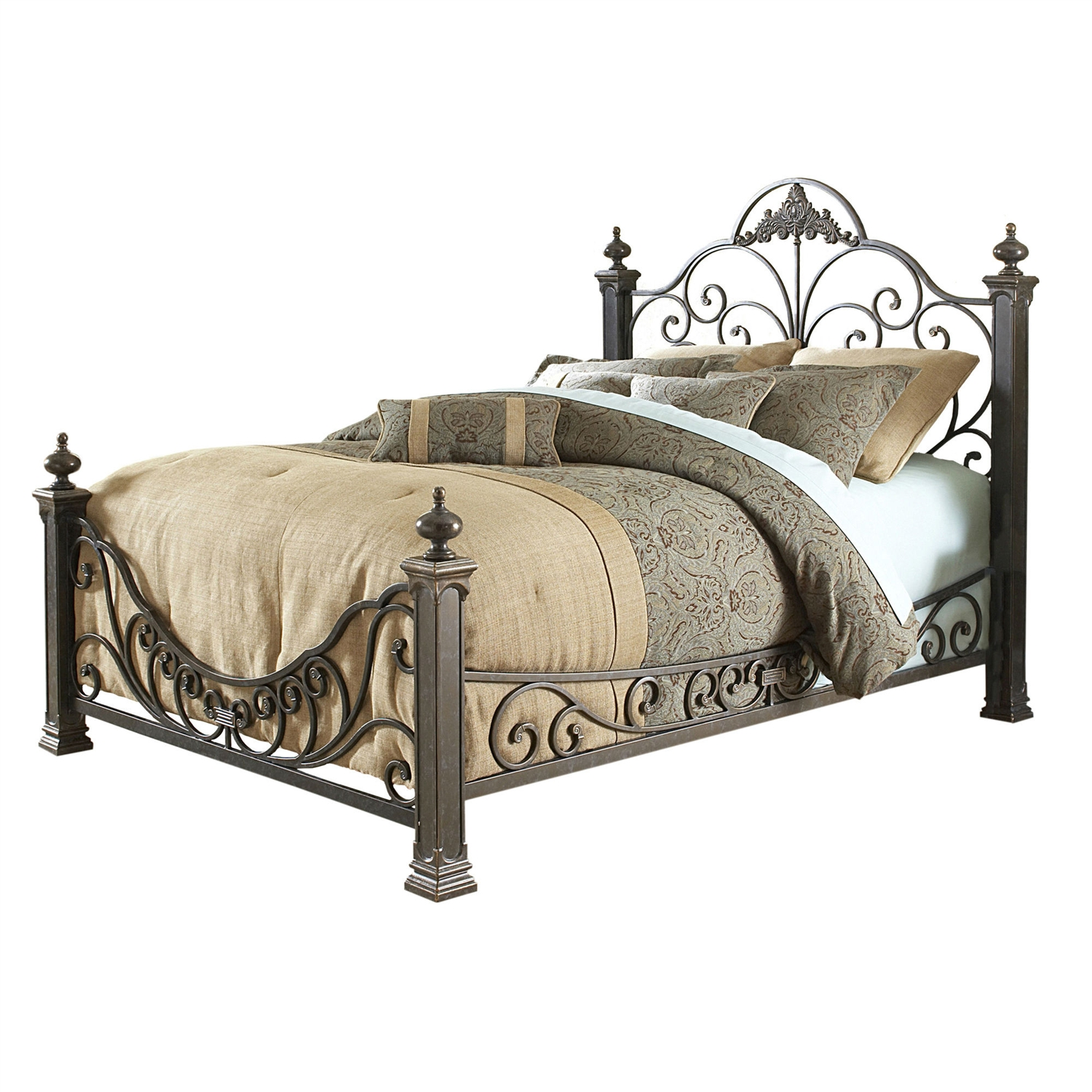 Queen Size Baroque Style Metal Bed With Headboard And Footboard Fastfurnishings