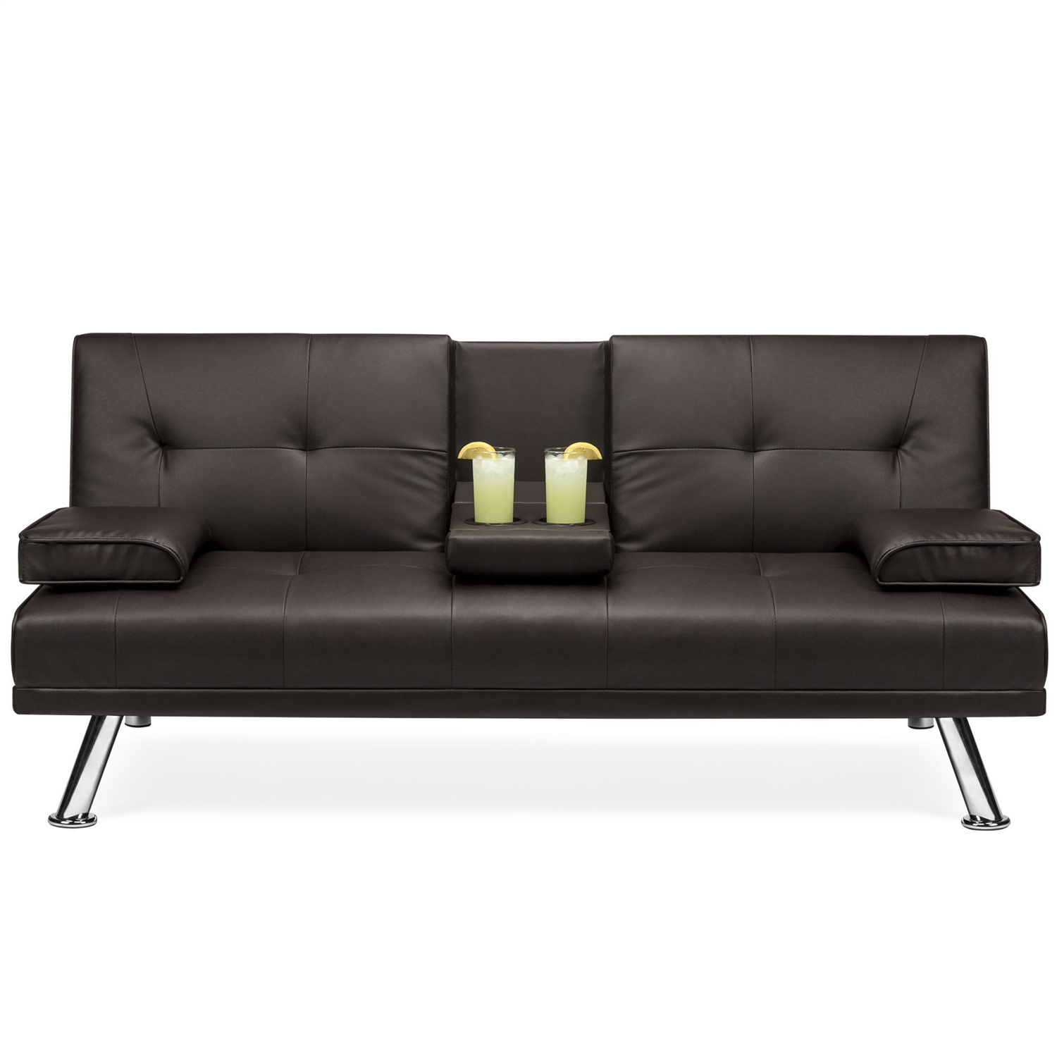 Brown Faux Leather Convertible Sofa