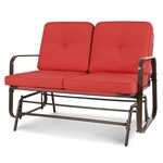 UV-Resistant Red 2 Seater Ergo Patio Glider Loveseat Rocking Chair Bench