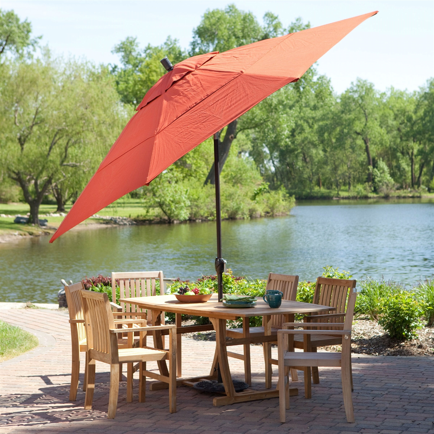 11 Ft Patio Umbrella With Brick Red Canopy And Metal Pole
