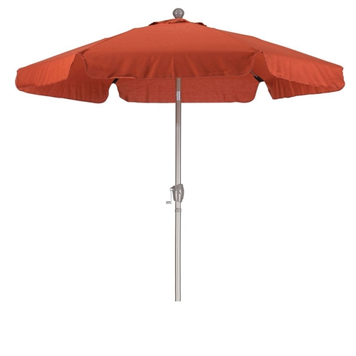 Brick Red 7.5-Ft Patio Umbrella with 3-Way Push Button Tilt and Metal Pole in Champagne Finish