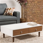 Modern Mid-Century Style White Wood Coffee Table with 2 Drawers