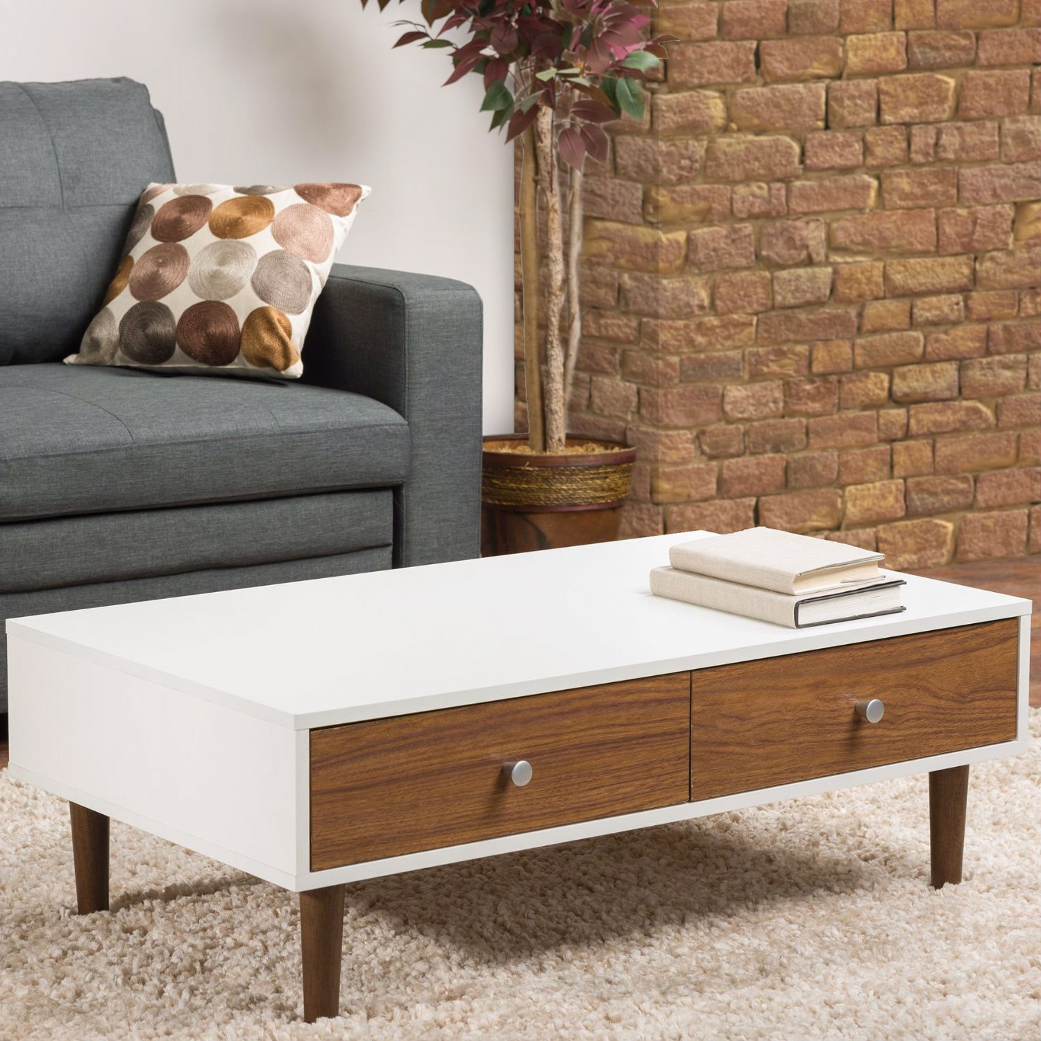 Image of: Modern Mid Century Style White Wood Coffee Table With 2 Drawers Fastfurnishings Com