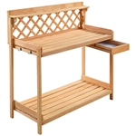 Solid Wood Garden Work Table Potting Bench in Natural Finish