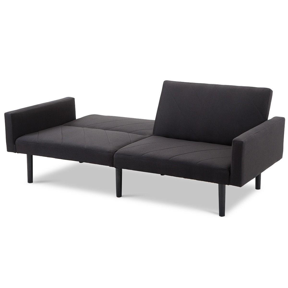 Magnificent Modern Black Linen Split Back Futon Sleeper Sofa Bed Couch Beatyapartments Chair Design Images Beatyapartmentscom