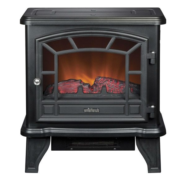 This Traditional Style Black Metal 400-Square Foot Electric Fireplace Stove Space Heater with picture windows