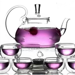 8-Piece Glass Teapot Set with 6 Glasses and Warmer