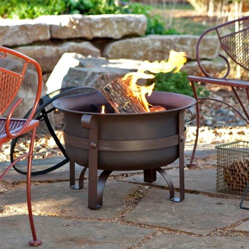 英寸重型钢火坑大锅,带支架和盖子
