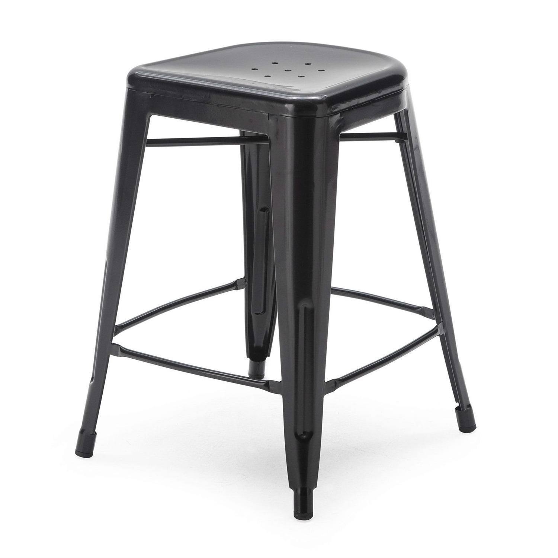 Set Of 2 Modern 24 Inch Black Metal Bar Stools Fastfurnishingscom