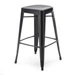 Set of 2 Bar Stools - Modern 30-inch Black Metal Barstools