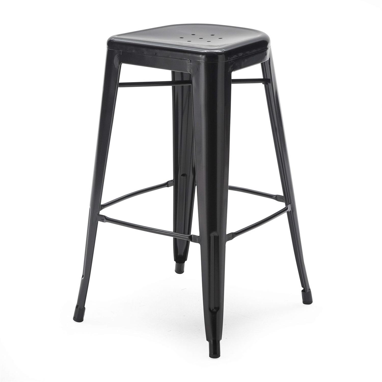 Set Of 2 Bar Stools Modern 30 Inch Black Metal Barstools