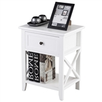 Classic Wooden White 1-Drawer Open Shelf End Table Nightstand
