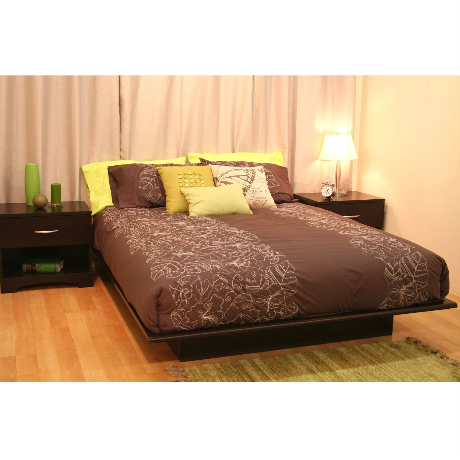 Picture of: Queen Size Platform Bed Frame In Dark Brown Chocolate Wood Finish Fastfurnishings Com