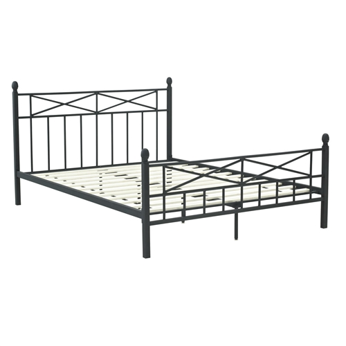 full size matte black metal platform bed frame with headboard footboard and wood slats. Black Bedroom Furniture Sets. Home Design Ideas