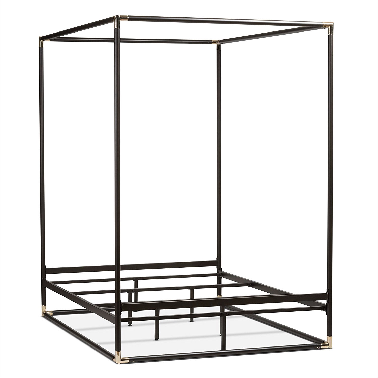 Queen size Industrial Style Black Metal Canopy Bed Frame ...