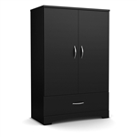 Black 2-Door Bedroom Armoire Waredrobe with Bottom Storage Drawer