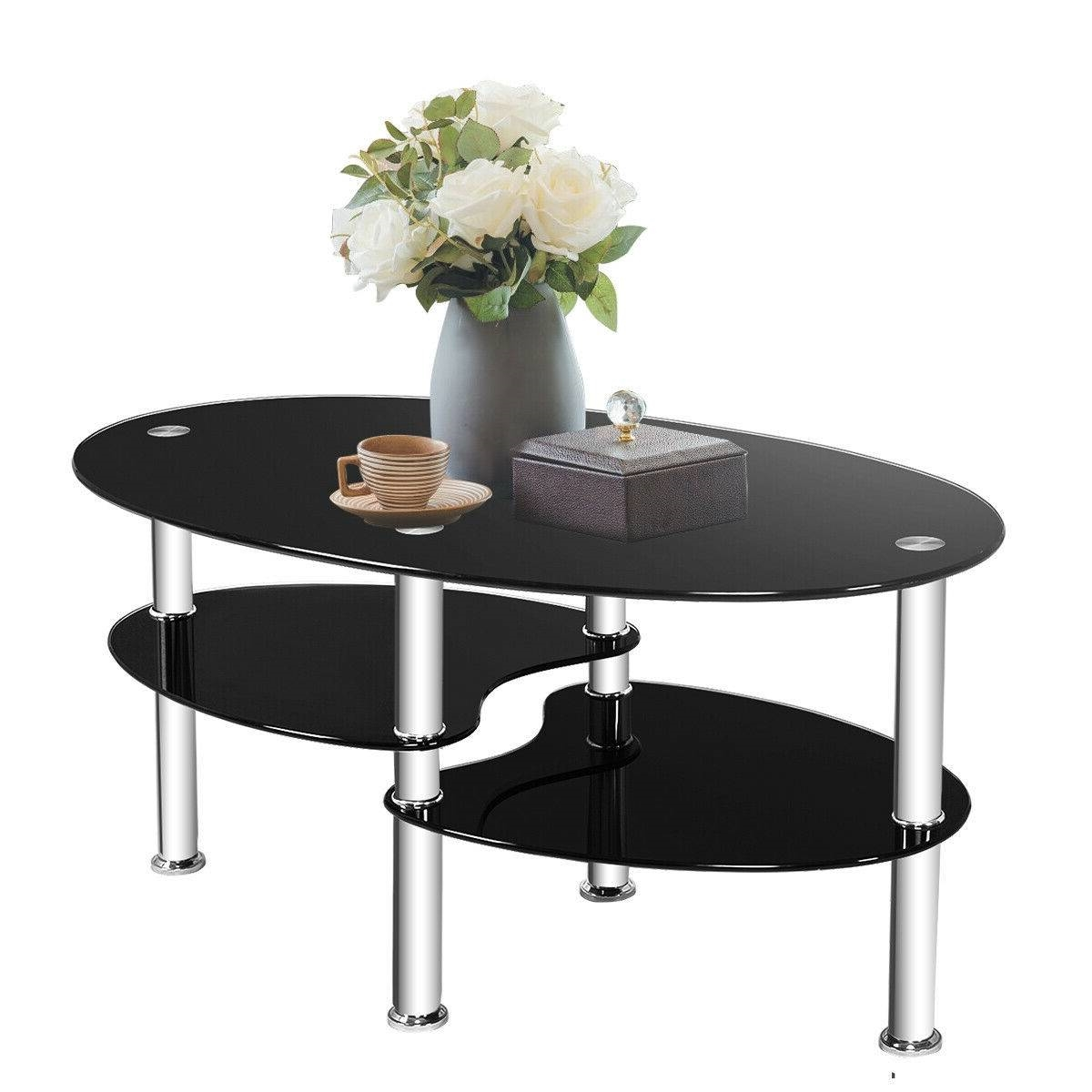 - Modern Black Tempered Glass Coffee Table With Bottom Shelf