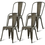 Set of 4 Stacking Metal Bistro Dining Chairs in Copper Finish with Wide Seat