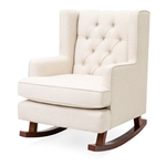 Beige Soft Tufted Upholstered Wingback Rocker Rocking Chair
