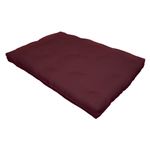 Full size 8-inch Thick Cotton Poly Futon Mattress in Burgundy