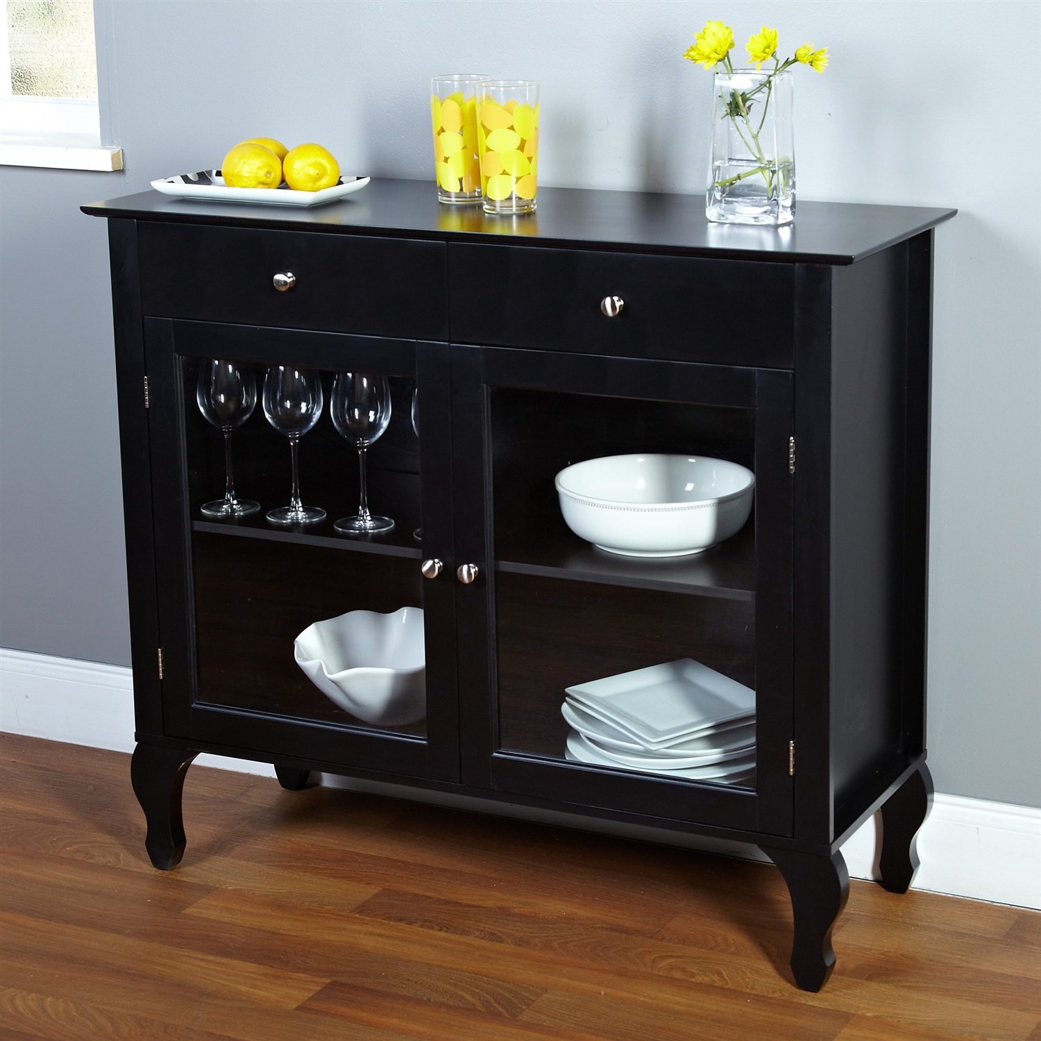 High Quality Black Dining Room Buffet Sideboard Server Cabinet With Glass Doors