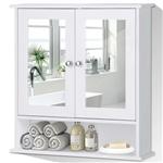 白色浴室壁挂药品柜,带镜子和开放式架子