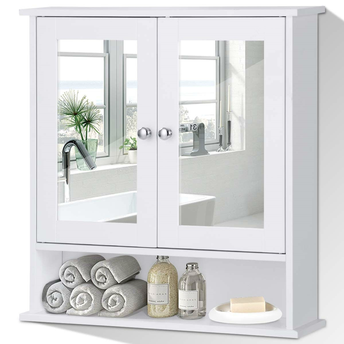 White Bathroom Wall Medicine Cabinet With Mirror And Open Shelf Fastfurnishings Com