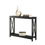 黑色木质控制台沙发桌,带底部储物架