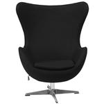 现代黑羊毛面料蛋形扶手椅子