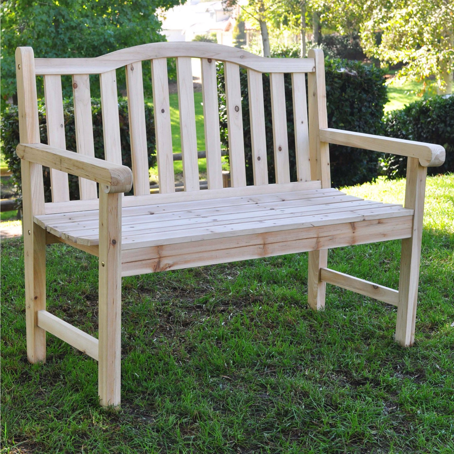 Outdoor Cedar Wood Garden Bench In Natural With 475lbs Weight Limit Fastfurnishings Com