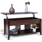 Brown Wood Lift-Top Coffee Table with Bottom Storage Shelves