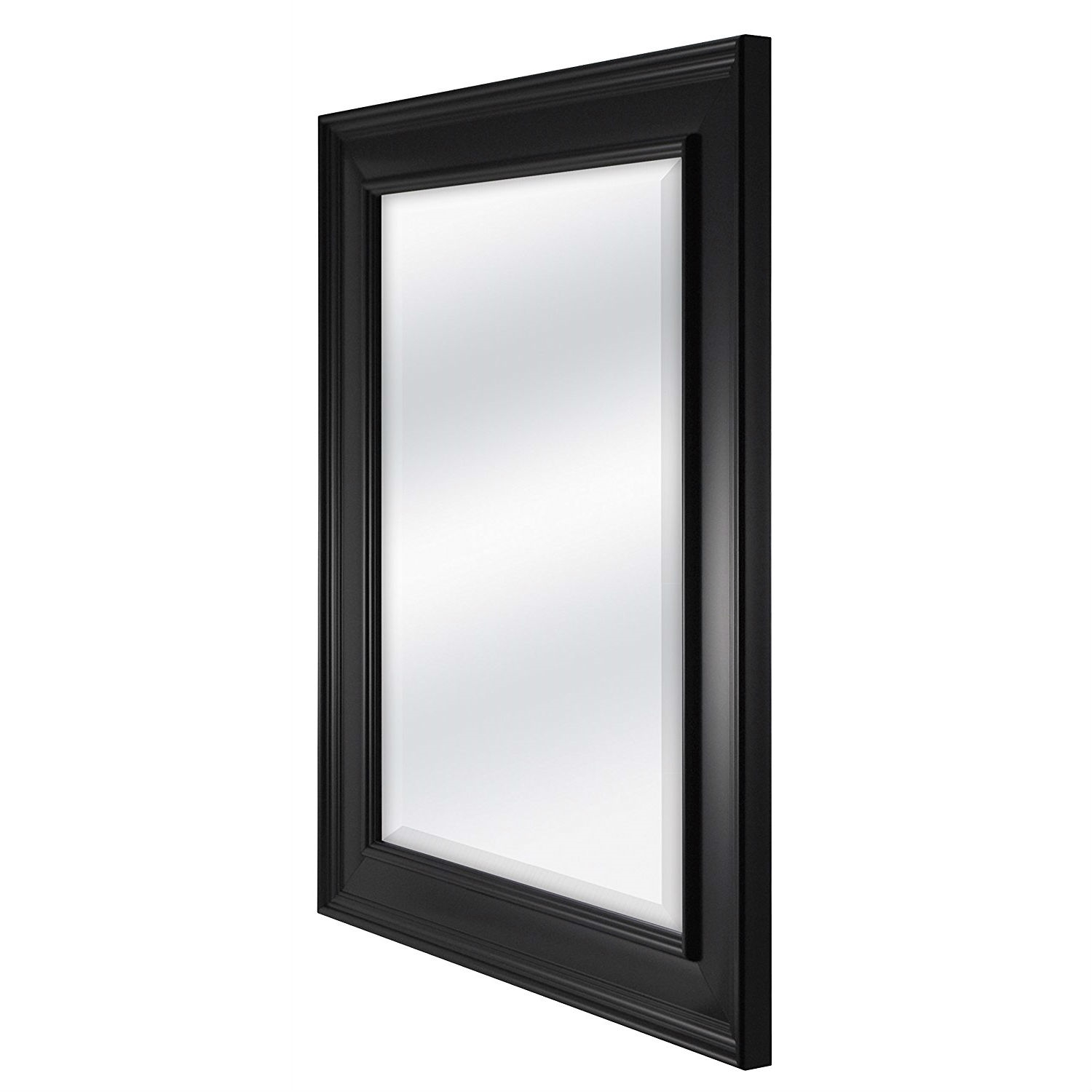 Black 27.5 x 21.5 inch Beveled Bathroom Mirror with Wall Hangers ...
