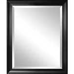 Beveled Glass Bathroom Wall Mirror with Black Frame - 34 x 28 inch