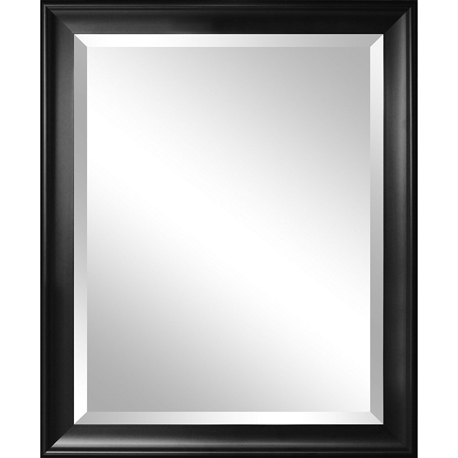 Beveled Glass Bathroom Wall Mirror With Black Frame   34 X 28 Inch