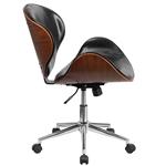中背胡桃木黑色人造皮革办公椅,带弯曲的弯曲木座椅