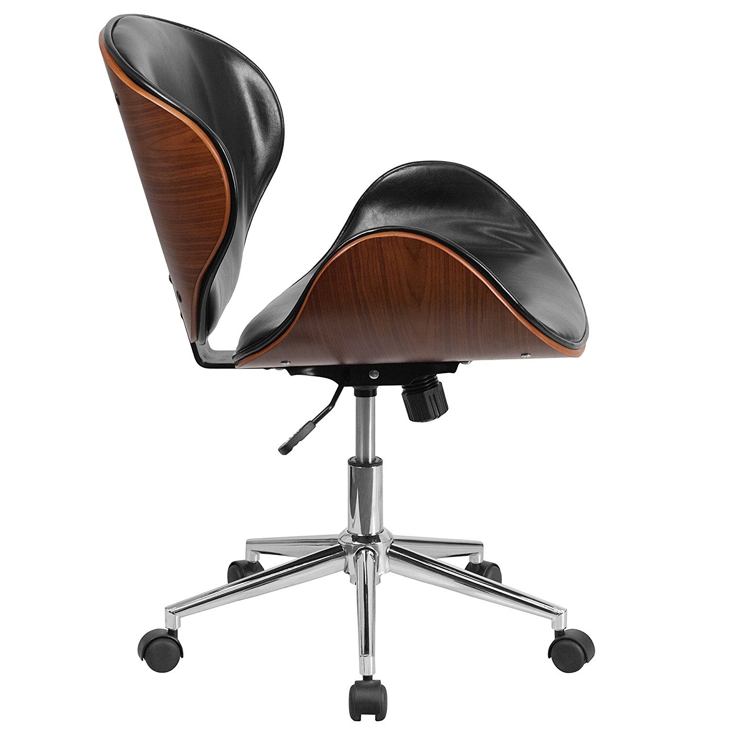 mid back walnut black faux leather office chair with curved