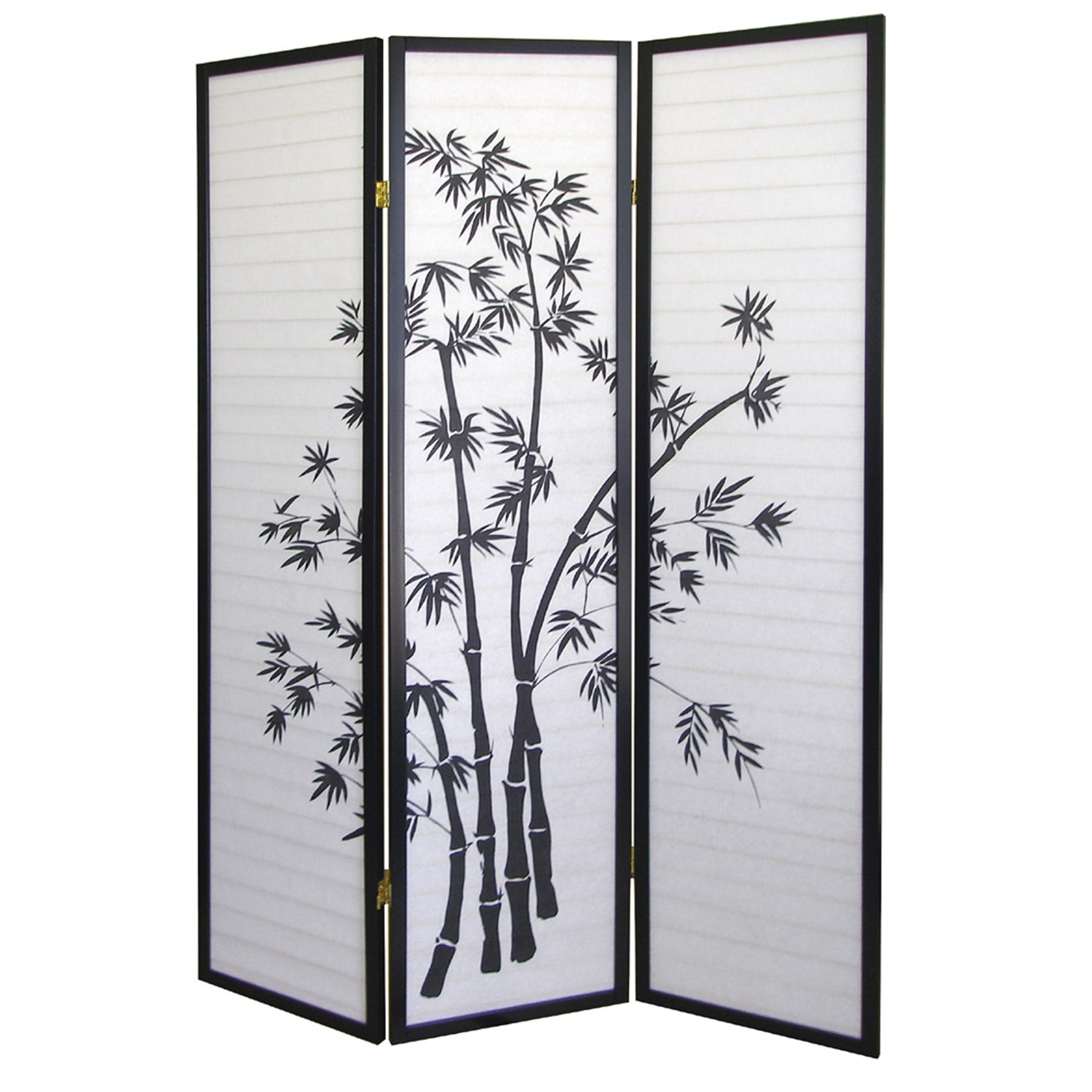 3 Panel Room Divider Privacy Screen With Bamboo Design Black White