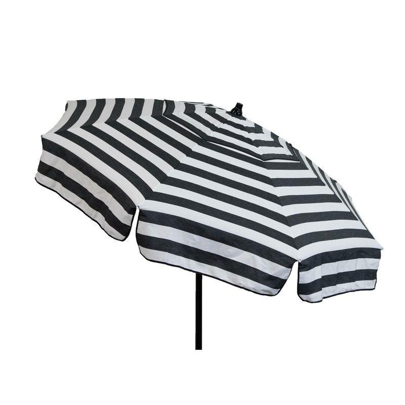 6 Foot Black White Stripe Drape Umbrella Manual Lift With Tilt Fastfurnishings